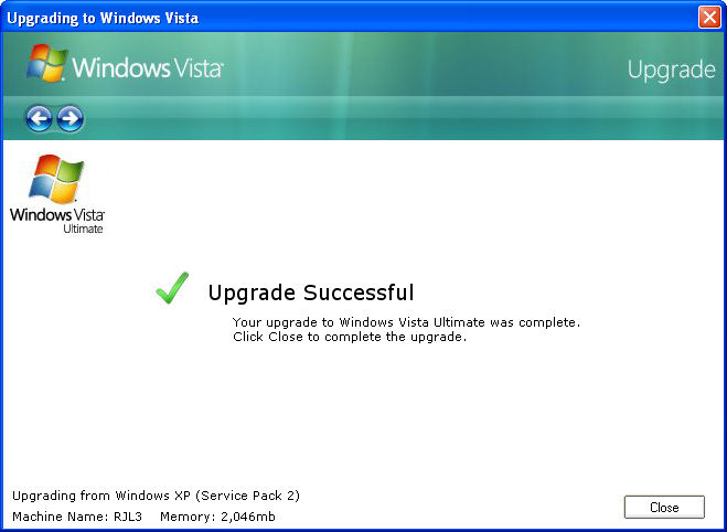 upgrade windows xp to vista